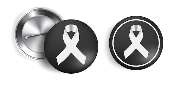 Mourning symbol with black respect ribbon on pin. rest in peace.