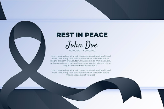 Simbolo di lutto con nastro di rispetto nero