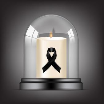 Rip 검은 존중 리본 및 투명 유리 돔 배경 배너에 촛불 애도 기호. 평화 장례식 카드 그림에서 휴식.