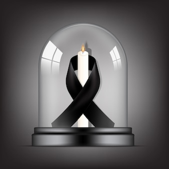 Mourning symbol with rip black respect ribbon and candle in transparent glass dome background banner. rest in peace funeral card   illustration.