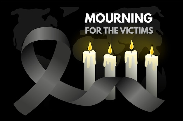 Mourning for the victims and candles