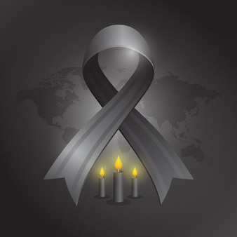 Mourning for the victims illustration with black ribbon