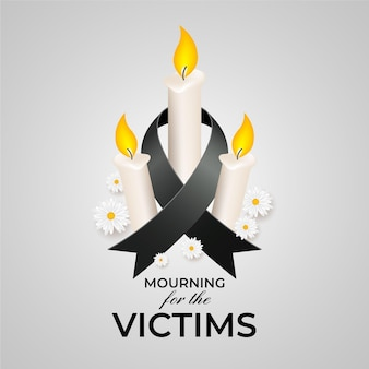 Mourning for the victims with candles