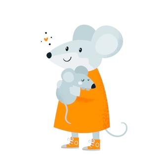 Мышь. малыш и мама. симпатичная счастливая прекрасная семья