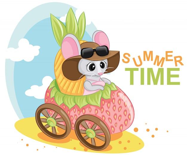 いちごの車の赤ちゃんかわいい女の子キャラクター。夏の時間のレタリングテキスト。