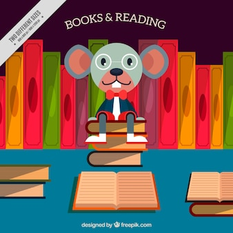Mouse background sitting on a pile of books in mouse background sitting on a pile of books in flat design