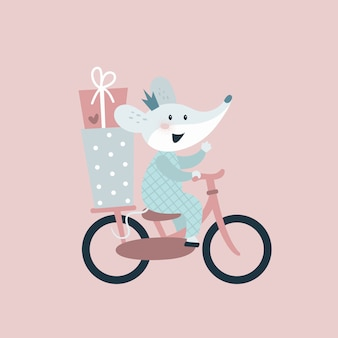 Mouse on bicycle with gifts. happy birthday card