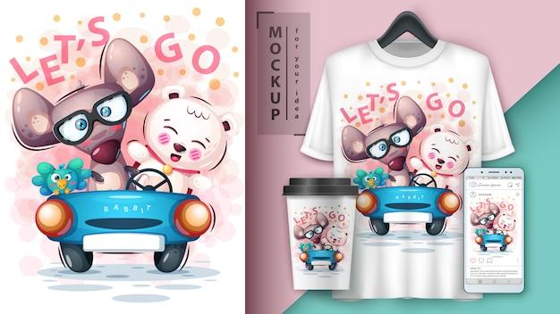 Mouse, bird, bearposter and merchandising