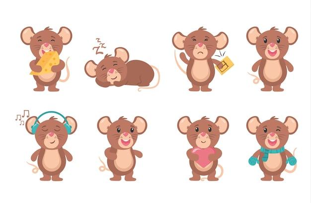 쥐 만화 동물 작은 설치류 음식 쥐 캐릭터와 함께 사랑스러운 행복한 쾌활한 마스코트 쥐