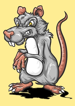 Mouse cartoon with angry face