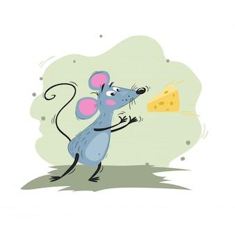 Мышь ловит сыр. мультфильм смешной колючий иллюстрации мыши или крысы. талисман 2020 года. комический персонаж. домашнее животное.