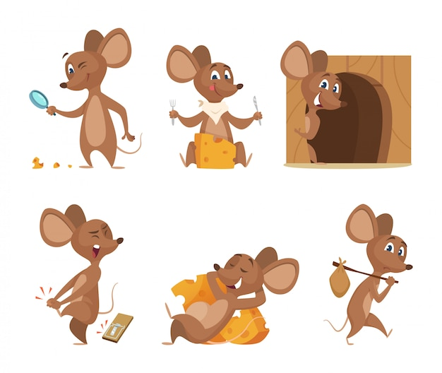 Mouse character. funny cartoon mice.
