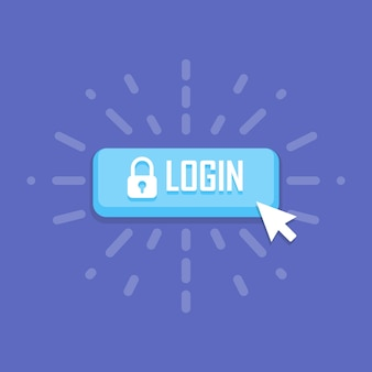 Mouse click on login icon. vector illustration.