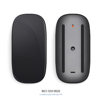 Mouse for computer black color view from above and bottom on white background.