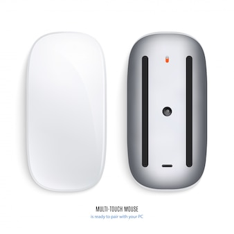 Mouse for computer view from above and bottom on white background. stock illustration