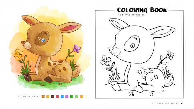 Mouse deer sit in the garden, cartoon illustration for watercolor coloring book .