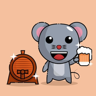 Mouse  drinking beer and standing next to the beer barrel