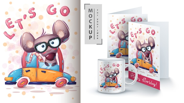 Mouse drive illustration and merchandising