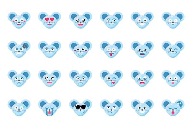 마우스 얼굴 평면 벡터 이모티콘 세트입니다. 쥐 긍정적, 부정적인 표정 이모티콘 스티커 팩