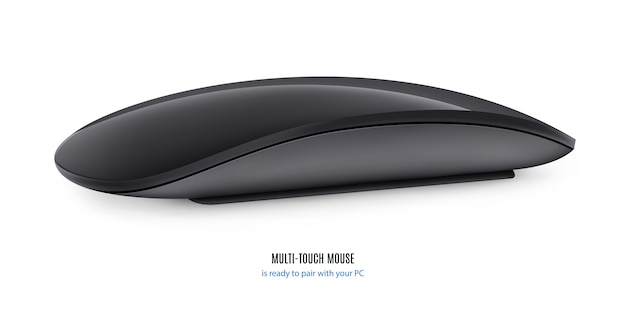 Мышь для компьютера черного цвета на белом фоне.
