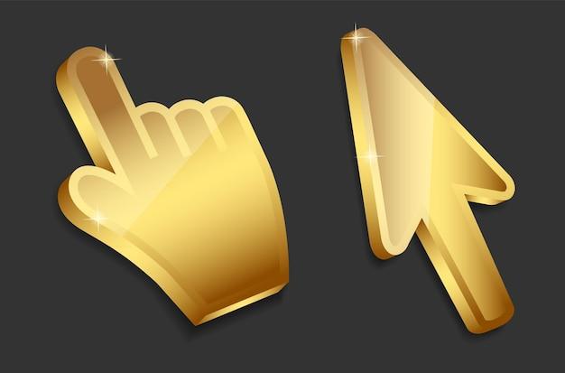 Рука мыши и стрелка золотые курсоры векторные иллюстрации