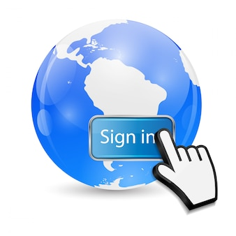 Mouse hand cursor on sign in button and globe