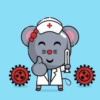 Mouse holding the injection in nurse uniform kawaii
