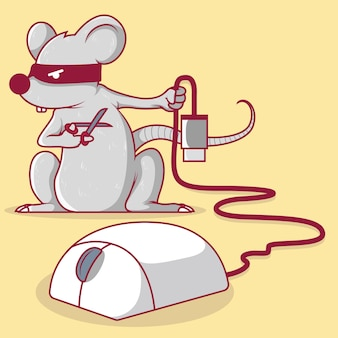 Mouse holding a scissor cutting the usb cord of a mouse illustration.