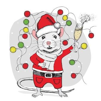 マウスはシャンパンの手描きイラスト年賀状のガラスを保持します