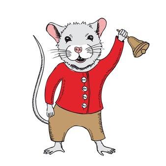 マウスは学校の鐘の手描きイラストを保持します