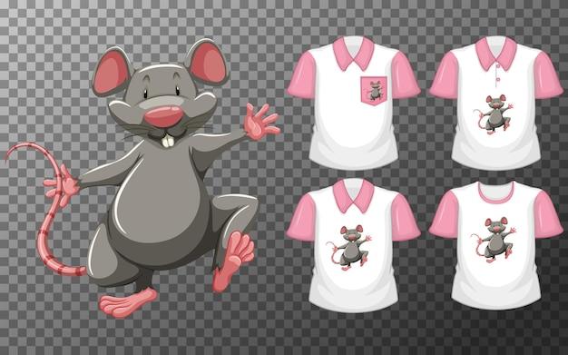 투명에 많은 종류의 셔츠가있는 스탠드 위치 만화 캐릭터의 마우스