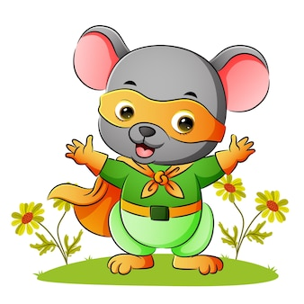 The mouse is wearing the superhero costume and mask of illustration