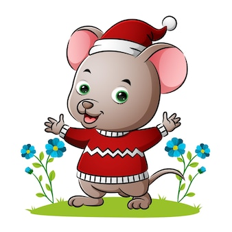 The mouse is wearing the sweater and waving the hands of illustration