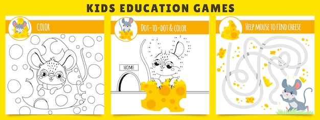 Mouse kids games. coloring game, mouse find cheese maze and dot by dot cartoon illustration set.