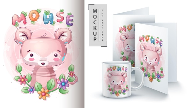 Mouse in leaf poster and merchandising