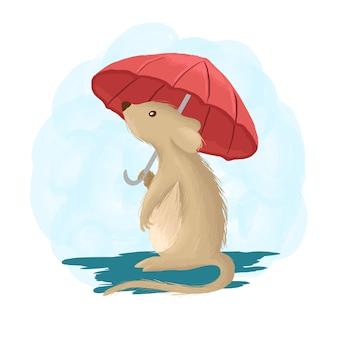 Мышь талисман мультяшный стиль иллюстрации