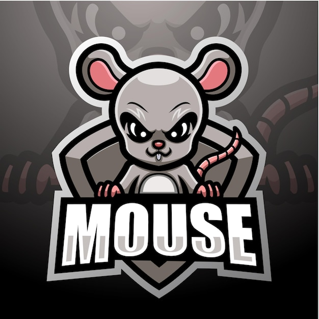 Мышь талисман киберспорт дизайн логотипа