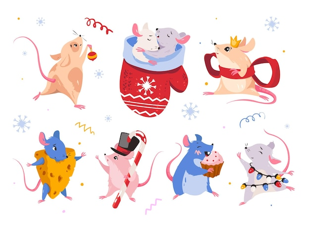 Mouse new year simbol vector set of isolated mouse characters sticker rat emoticon design