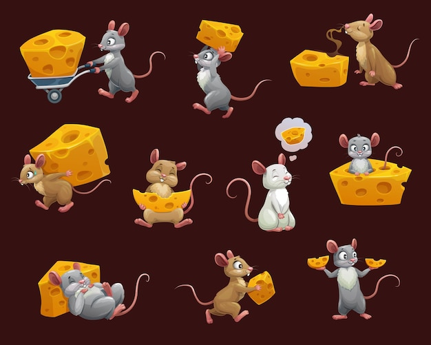 Mouse and rat with cheese cartoon