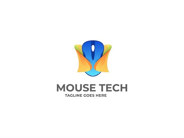 Сейф с мышью и дизайн логотипа мыши premium vector template
