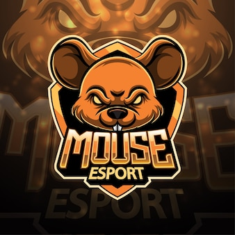 マウススポーツマスコットのロゴデザイン