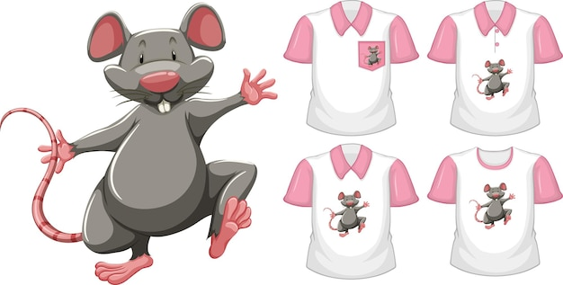 Mouse in stand position cartoon character with many types of shirts on white