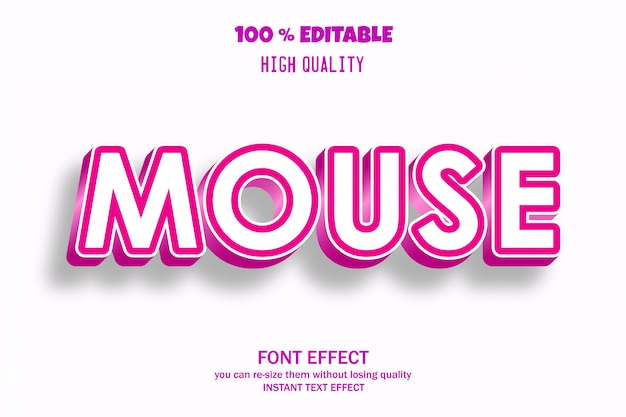 Mouse text, editable font effect