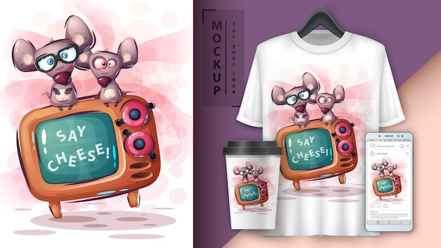 Mouse and tv poster and merchandising