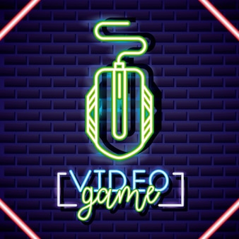Mouse, video game neon linear style