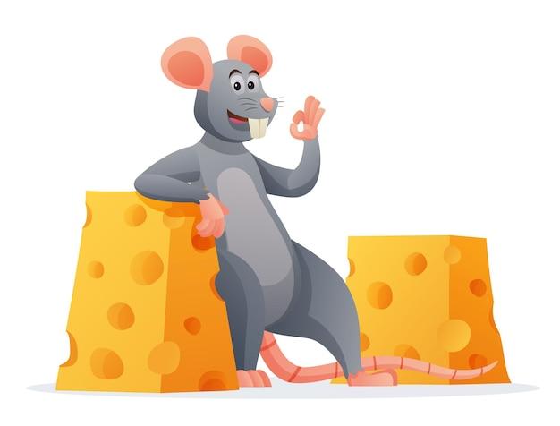 Мышь с сыром мультфильм, изолированные на белом фоне
