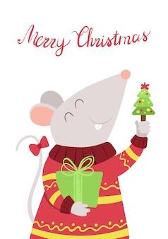 Мышь с рождественским подарком на плоской векторной иллюстрации