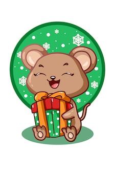 Мышь с рождественским подарком