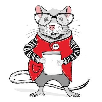 眼鏡をかけたマウスは、本の手描きイラストを保持しています
