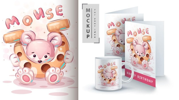 馬蹄形のマウス-ポスターとマーチャンダイジング